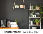 modern kitchen with black wall  ... | Shutterstock . vector #637113457