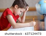 sad little boy depressed while... | Shutterstock . vector #637124473