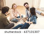 diverse people playing game... | Shutterstock . vector #637131307