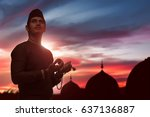 religious asian muslim man with ... | Shutterstock . vector #637136887