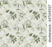 romantic retro style seamless... | Shutterstock . vector #637145527
