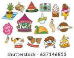 set of fashion cute patches... | Shutterstock .eps vector #637146853