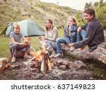 children in the camp by the... | Shutterstock . vector #637149823