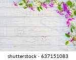 floral frame with with white... | Shutterstock . vector #637151083