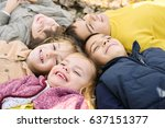 large group of children. happy... | Shutterstock . vector #637151377