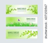 horizontal frame spring theme... | Shutterstock .eps vector #637153567