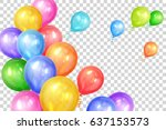 bunch of colorful helium... | Shutterstock .eps vector #637153573