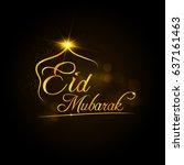 golden lettering eid mubarak... | Shutterstock .eps vector #637161463