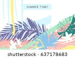 creative universal floral card... | Shutterstock . vector #637178683