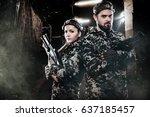 heavily armed masked lasertag... | Shutterstock . vector #637185457