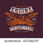 motorcycle engine repair emblem.... | Shutterstock .eps vector #637186747