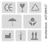set of monochrome icons with... | Shutterstock .eps vector #637189417