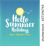 vector travel banner with sun ... | Shutterstock .eps vector #637196743
