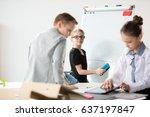 children working in office like ... | Shutterstock . vector #637197847