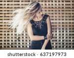 the beautiful girl stands in... | Shutterstock . vector #637197973