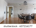contemporary kitchen in... | Shutterstock . vector #637216177