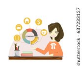 woman working in office and...   Shutterstock .eps vector #637233127