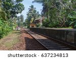railway tracks stretching into... | Shutterstock . vector #637234813