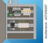 plc control system in electric... | Shutterstock .eps vector #637240207