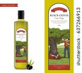olive oil label concept with... | Shutterstock .eps vector #637266913