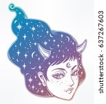 beautiful anime or retro manga...   Shutterstock .eps vector #637267603