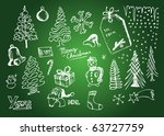 christmas hand drawn symbols | Shutterstock .eps vector #63727759