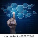 hand pushing blank hexagon... | Shutterstock . vector #637287247