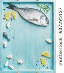 fresh sea bream or dorado raw... | Shutterstock . vector #637295137