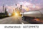 oil tanker truck and... | Shutterstock . vector #637299973