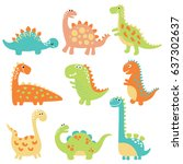 cute vector dinosaurs isolated... | Shutterstock .eps vector #637302637
