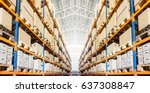 rows of shelves with goods... | Shutterstock . vector #637308847