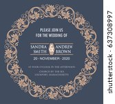 wedding invitation card with... | Shutterstock .eps vector #637308997