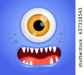 cartoon monster face. vector... | Shutterstock .eps vector #637318543