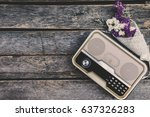 the old retro radio is paired... | Shutterstock . vector #637326283