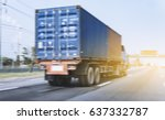 truck on road container motion... | Shutterstock . vector #637332787