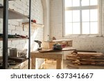 joinery shop interior with... | Shutterstock . vector #637341667