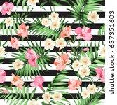 tropical flower seamless... | Shutterstock .eps vector #637351603