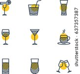 vector illustration of 9 drinks ... | Shutterstock .eps vector #637357387