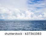 view of sea horizon line with... | Shutterstock . vector #637361083