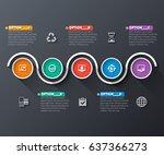 vector abstract 3d paper... | Shutterstock .eps vector #637366273
