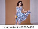 beauty woman model wear stylish ... | Shutterstock . vector #637366957