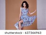 beauty woman model wear stylish ... | Shutterstock . vector #637366963