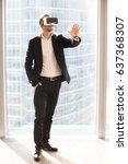 businessman using virtual... | Shutterstock . vector #637368307