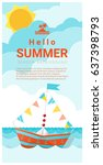 hello summer background with... | Shutterstock .eps vector #637398793