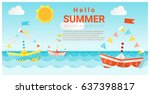 hello summer background with... | Shutterstock .eps vector #637398817