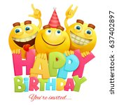 happy birthday invitation card... | Shutterstock .eps vector #637402897