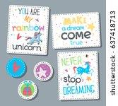 childish sticker set. lettering ...   Shutterstock .eps vector #637418713