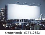 side view of empty billboard on ... | Shutterstock . vector #637419553