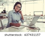 young beautiful business lady... | Shutterstock . vector #637431157