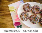 plate of chocolate sprinkle... | Shutterstock . vector #637431583